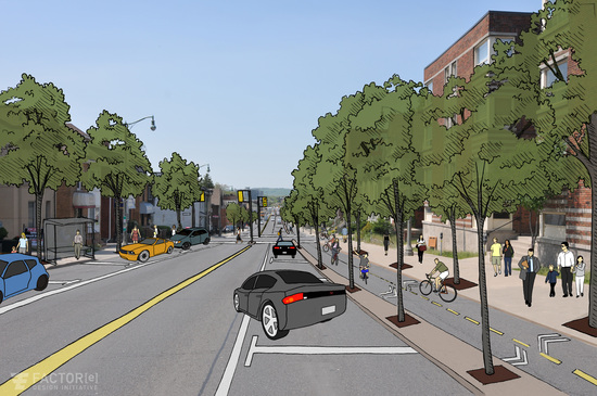 Main Street West, looking east from Queen Street, reimagined as a complete street. (Image Credit: Chelsea Robinson, factor[e] design initiative Inc.)